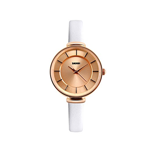 Naivo Women's Quartz Stainless Steel and Leather Casual Watch, Color:Ivory (Model: NAIVO-WATCH-1133)