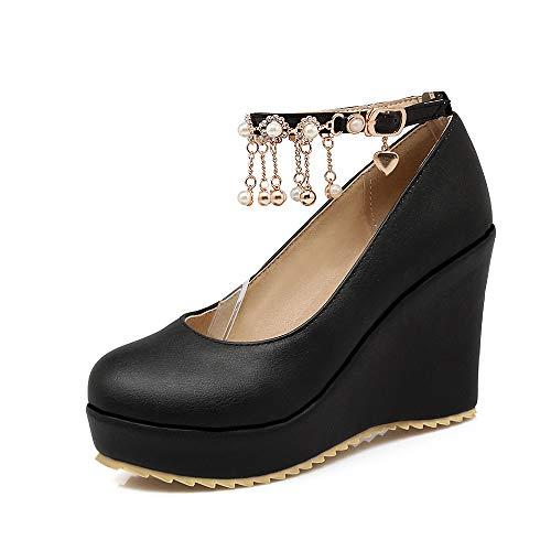 Yukun zapatos de tacón alto Zapatos De Cuña Otoñal Zapatos Impermeables De Tacón Alto Princesa Zapatos De Mujer Gruesos Suela Dulce Hebilla De Zapatos De Estudiante Black