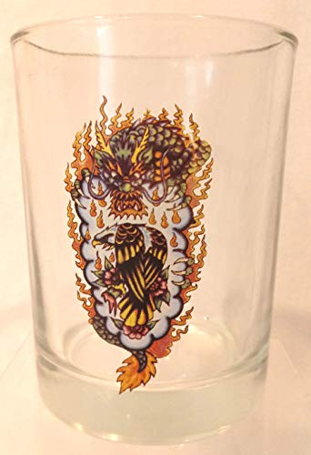 Ed Hardy Cocktail Glass with Dragon and - Hardy Glass