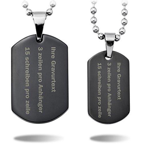 MeMeDIY 2 Stückes Schwarz Edelstahl Anhänger Halskette Dog Tag Partner - Kundenspezifische Gravur