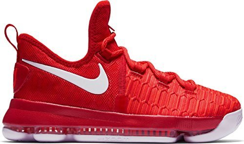 Nike Kids KD9 (GS) Basketball Shoe (6.5, University Red/White)