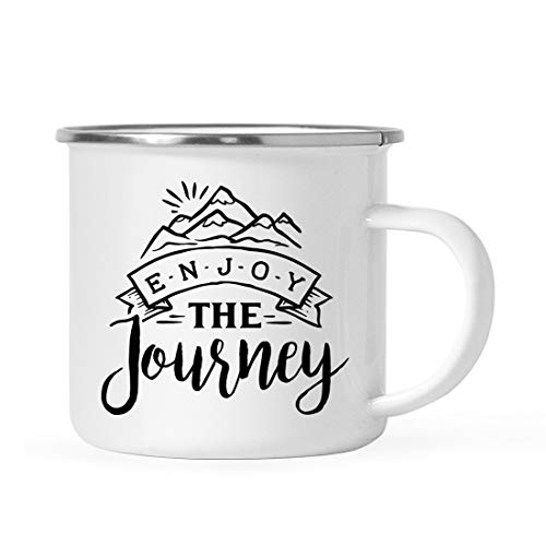 Andaz Press 11oz. Stainless Steel Camping Coffee Mug Gift, Enjoy The Journey, 1-Pack, Birthday Christmas Outdoors Metal Enamel Campfire Cup -