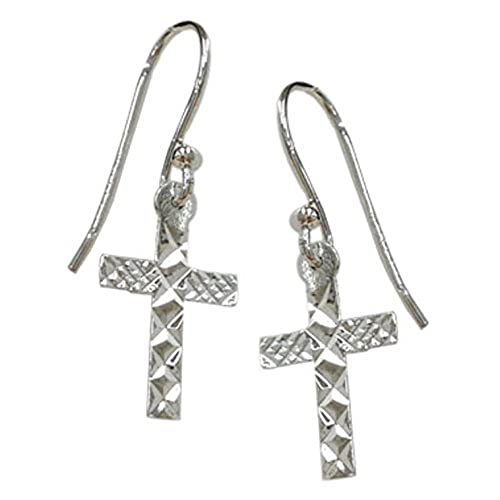 Sterling Silver Plain Diamond Cut Cross Earrings: 100% Hypoallergenic & 100% Nickel Free