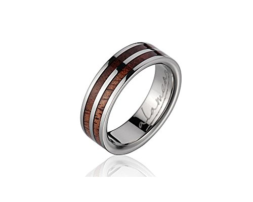 Genuine inlay Hawaiian koa wood wedding band ring titanium 6mm size 7 by Arthur's Jewelry