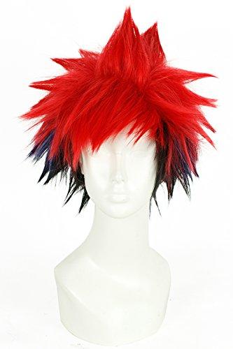 [L-email Mens Yukihira Souma Short Straight Fluffy Cosplay Wig Red Fade Blue] (Sandy Wig)