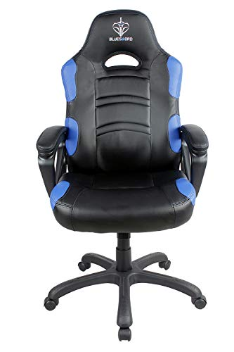 BLUE SWORD Gaming Chair, Adjustable High-Back Racing Chair with Headrest and Lumbar Support, 360° Swivel, Carbon Fiber, Leatherette, Polyester Five-Star Base, Blue