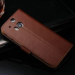 Stand Wallet Genuine Leather Case For HTC One M8 Luxury Book Style Phone Bag Cover With Card Slot Black Wholesale 10 Pcs/lot --- Color:blue