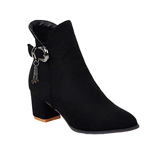 Buckle Short Black Elegant Heel Women's Mid Zip Carolbar Boots xwq7XPO4g
