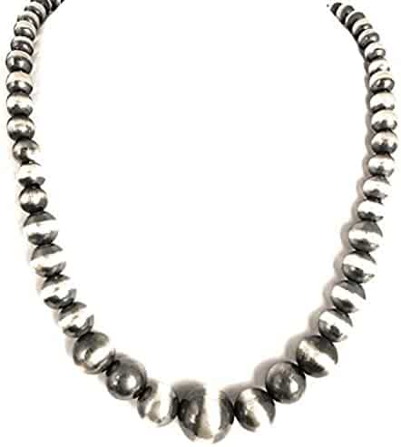 Christmas Gift for Mom Wife or loved Ones, Native American Navajo Pearls 7mm Sterling Silver Bead Necklace 32