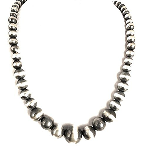 Christmas Gift for Mom Wife or loved Ones, Native American Navajo Pearls 7mm Sterling Silver Bead Necklace 32'' by Masha