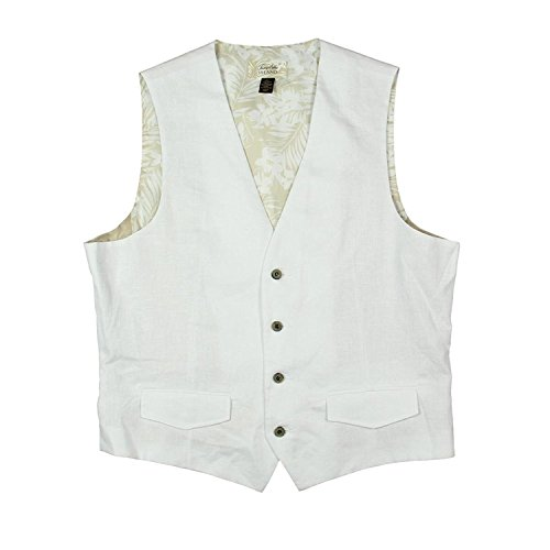 Tasso Elba Mens Linen Woven Textured Button-Front Vest White XL -