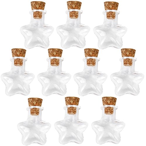 10pcs Star Shape Empty Wish Small Clear Message Glass Bottles (Eau De Star Mini)