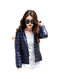 bbpawing Women's Lightweight Down Short Jacket Solid Color Hooded Coat