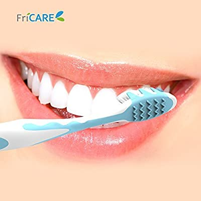FriCARE Full Head Adult Size Manual Toothbrush with Teeth Whitening Soft Bristles, Assorted Colors for Home and Travel