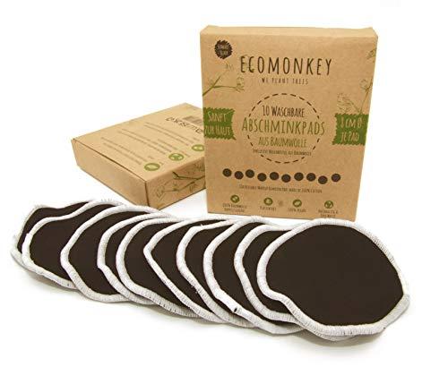 Waschbare Abschminkpads aus Baumwolle ✮ 10 Stück in Schwarz ✮ Plus Wäschenetz ✮ Zero Waste ✮ Plastikfrei ✮ Vegan ✮ Nachhaltig ECOMONKEY®