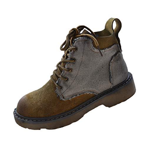 Shukun Stiefeletten Herbst Martin Stiefel Weiblicher Seitlicher Reißverschluss Farbe Hohe Pu Stiefel Kurze Stiefel Literarische Retro Schuhe