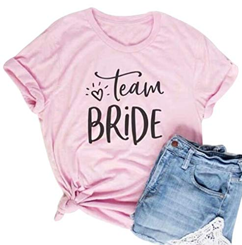 Bride Womens Pink T-shirt - Team Bride T Shirt Women Bachelorette Party Short Sleeve Pink Tops Wedding Gift Shirt Size L (Pink)