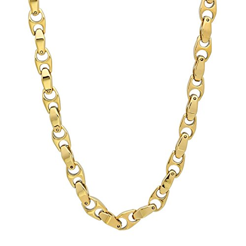 - The Bling Factory Men's 14k Gold Plated Durable Tungsten 6mm Puffed Mariner Link Chain Necklace, 23.5