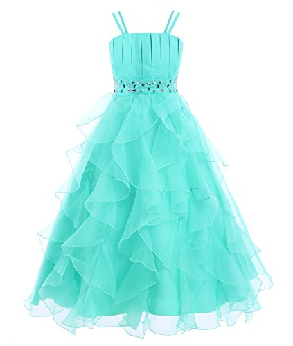 TiaoBug Girls Organza Rhinestones Wedding Dress Princess Party Ruffle Dresses Turquoise 4