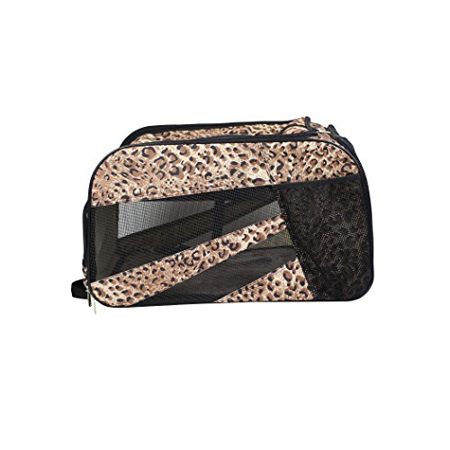 dbest products Pet Smart Cart Carrier, Medium, Cheetah, Soft Sided Collapsible Folding Travel Bag, Dog Cat Airline Approved Tote Luggage Backpack