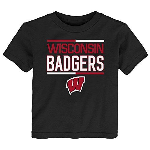 NCAA by Outerstuff NCAA Wisconsin Badgers Kids Flag Runner Alternate Color Tee, Black, Kids ()