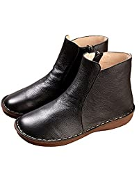 Zoulee Women's Leather Side Zipper Chelsea Boots Slip On Ankle Bootie