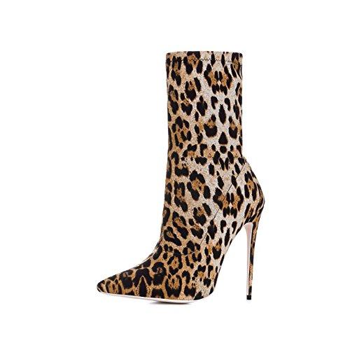 Stiletto Venyvä Painettu Teräväkärkiset Korkokengät Seksikäs Naisten Leopardi Nilkkurit Kengät Themost YRqvawO7