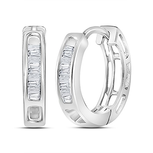 Gold Baguette Diamond Earrings - 10k White Gold Womens Baguette Diamond Huggie Hoop Earrings (.16 cttw.) (I3 clarity; J-K color)