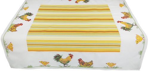 Xia Home Fashions Hens and Chicks Embroidered Easter Table Topper, 34 by 34-Inch by Xia Home Fashions