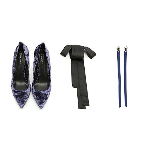 Travail De Purple10CM Pointu Strap Classique Pompes Talons D'honneur Demoiselle Ruban Femmes Mesdames Hauts Chaussures Mariage Sexy IxcTp