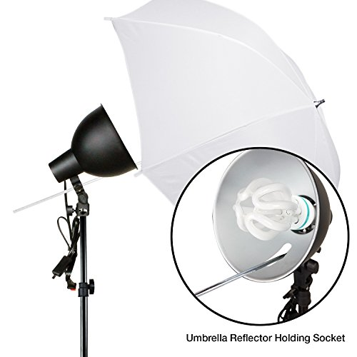 LimoStudio 2-Pack Reflector Dish Metal Lamp with Continuous Lighting Bulb and Umbrella Reflector, Lamp Socket and Umbrella Reflector Holding Slot, Light Stand Tripod, Photo Studio, AGG2604V2 by LimoStudio (Image #4)
