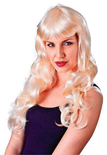 Gothic Dolly Wig (Retail Zone Women's Long Wavy Wig Dolly Parton Saloon Girl Cowgirl Gothic Adult One Size Blonde)