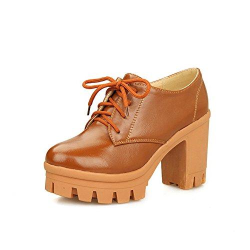 Balamasa Femmes Antidérapantes Chunky Talons Bandage Uréthane Chaussures Oxford Marron