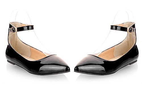 Aisun Womens Comfy Candy Color Patent Leather Ankle Strap Flats Shoes Black ZsYz6Lcjgo