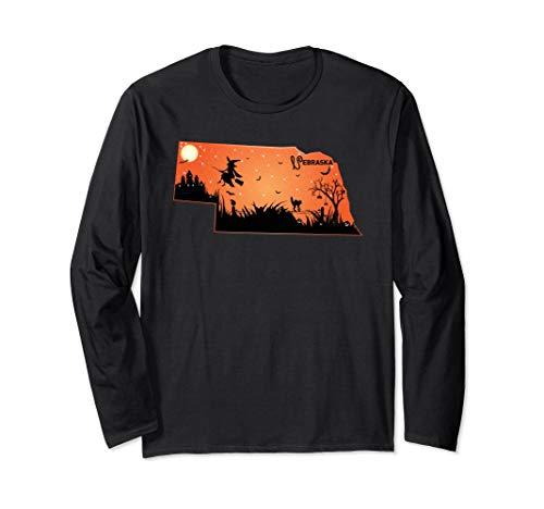 Halloween Nebraska NE State Design Long Sleeve Tee Shirt Gif