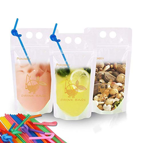- EXSPORT 100 PCS Drink Pouches Bags Food Storage Bags Reusable Snack Bags with 100 Drink Straws (with Logo)
