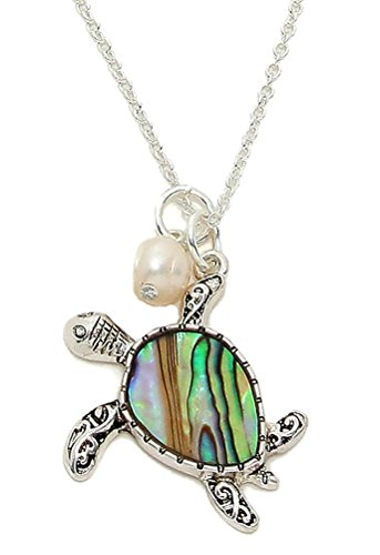 (Silver Tone Abalone Shell Tortoise Necklace with Pearl 18-21 Inches)