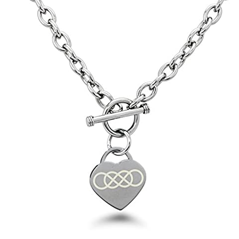 Stainless Steel Double Infinity Symbol Engraved Heart Tag Charm Necklace (Heart Toggle Chain Necklace)