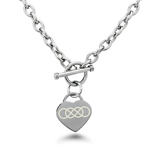Double Heart Tag Necklace - Stainless Steel Double Infinity Symbol Engraved Heart Tag Charm Necklace