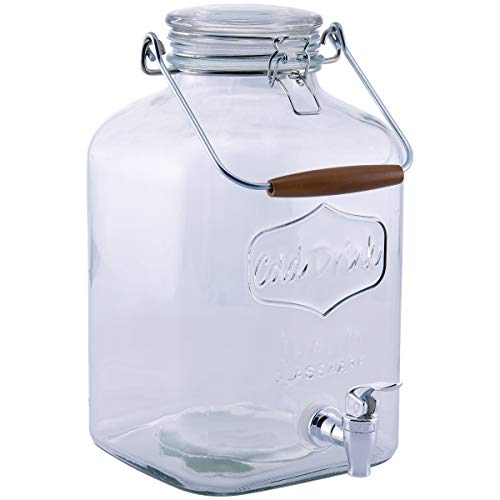 Sun Tea Mason Jar Glass Beverage Dispenser, Fun Party Wine Lemonade Sangria Water Kombucha & Cold Drinks, Huge 2.3 gallon