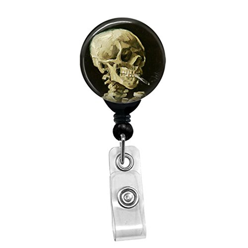 Vincent Van Gogh - Skull of a Skeleton with Burning Cigarette - Retractable Badge Reel - ID Name Tag Custom Badge Holder (Black Badge Reel With Spring Pinch Clip)