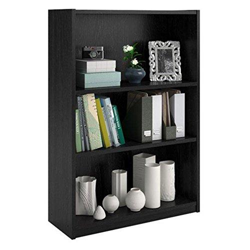 3-Shelf Bookcase in Black Ebony Ash Finish