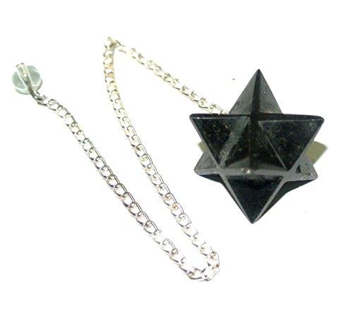 - Black Tourmaline Crystal Quartz Merkaba Star Pendulum Reiki Healing Meditation