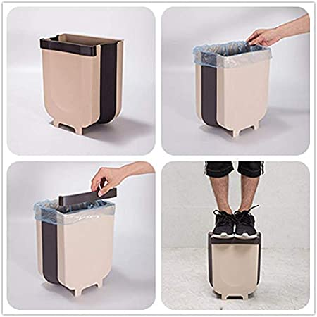 Collapsible Trash Bin Small Compact Garbage Can Attached to Cabinet Door Kitchen Drawer Bedroom Dorm Room Car Waste Bin Gray Kitchen Hanging Trash Can 9L//2.3 Gallon