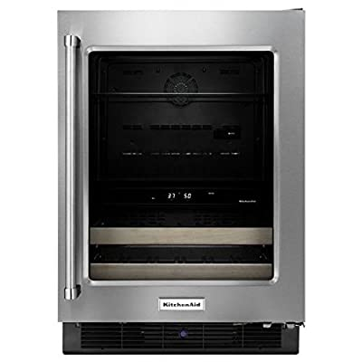 """KitchenAid® 24"""" Beverage Center with Glass Door and Wood-Front Racks"""