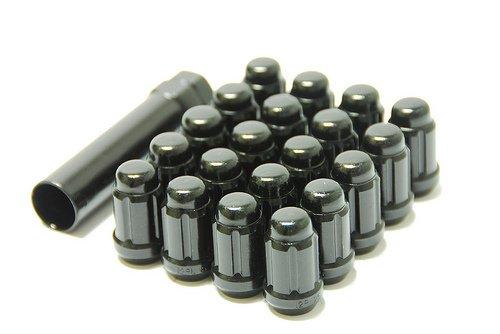 Muteki 41886B Black 12mm x 1.5mm Closed End Spline Drive Lug Nut Set with Key, (Set of 20)