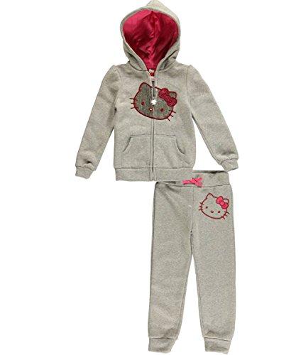 Hello Kitty Little Girls' Fleece Active Pant Set, Heather Grey, 2T