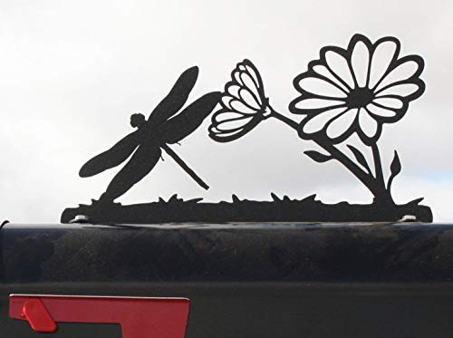Garden Flower and Dragonfly Metal Mailbox Topper