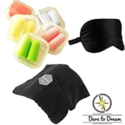 DaretoDream | TRAVEL PILLOW | SUPER SOFT NECK SUPPORT | TRAVEL KIT with EAR PLUGS, EYE MASK and NECK PILLOW