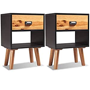 Amazon.com: Festnight Acacia Wood Nightstand with Drawer